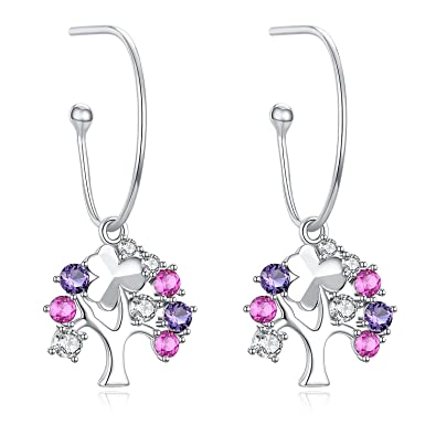 0fad737a2 Tree of Life Earrings, 925 Sterling Silver with Cubic Zirconia Ruby Hoop  Earrings for Women