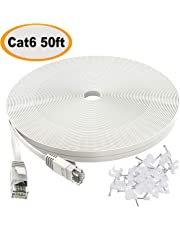 Cat 6 Ethernet Cable 50 ft White - Flat Internet Network Lan patch cords – Solid Cat6 High Speed Computer wire With clips& Snagless Rj45 Connectors for Router, modem – faster than Cat5e/Cat5 - 50 feet