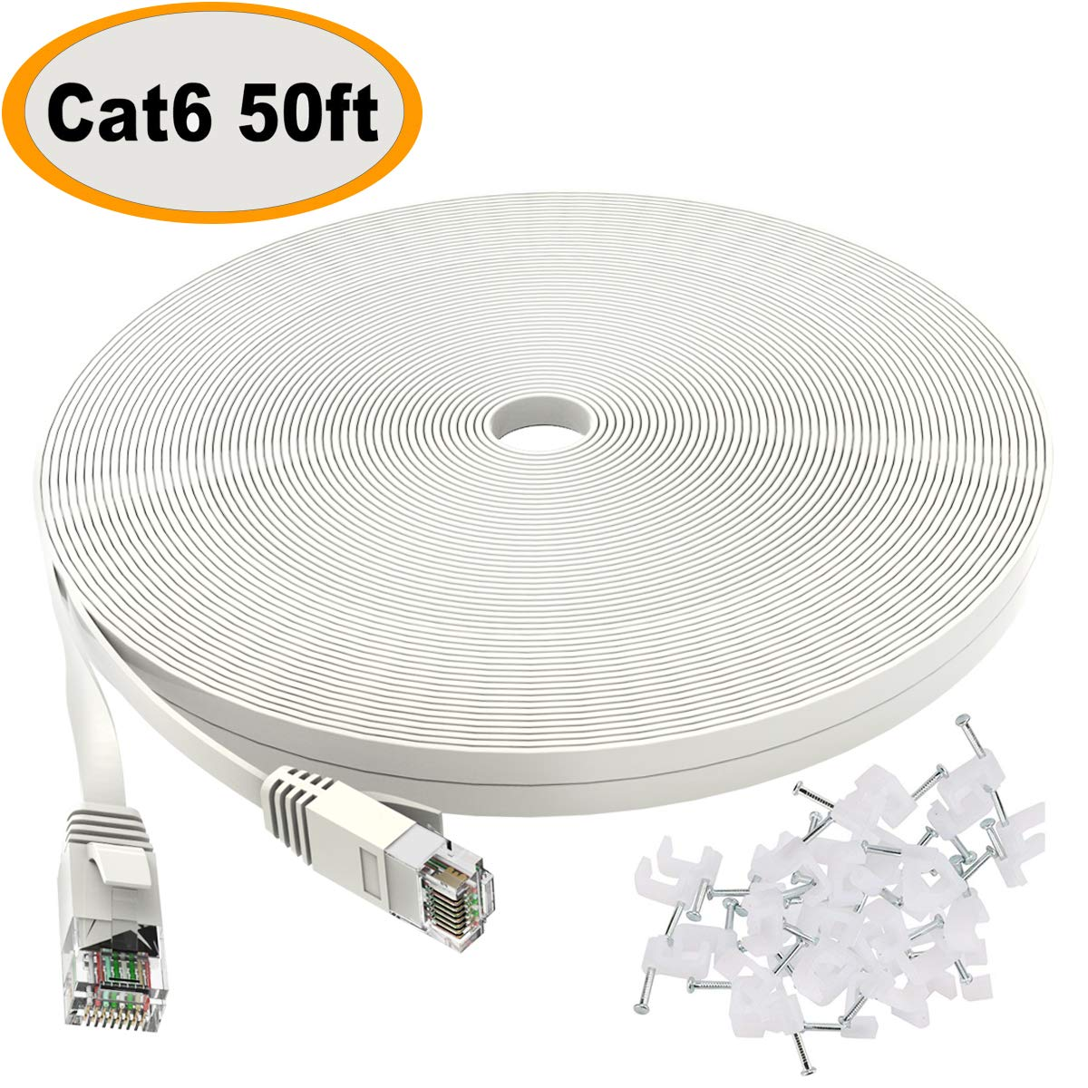 Best Rated In Cat 6 Ethernet Cables Helpful Customer Reviews Cat6 Wiring Cable 50 Ft White Flat Internet Network Lan Patch Cords Solid High Speed Computer Wire With Clips Snagless Rj45 Connectors For