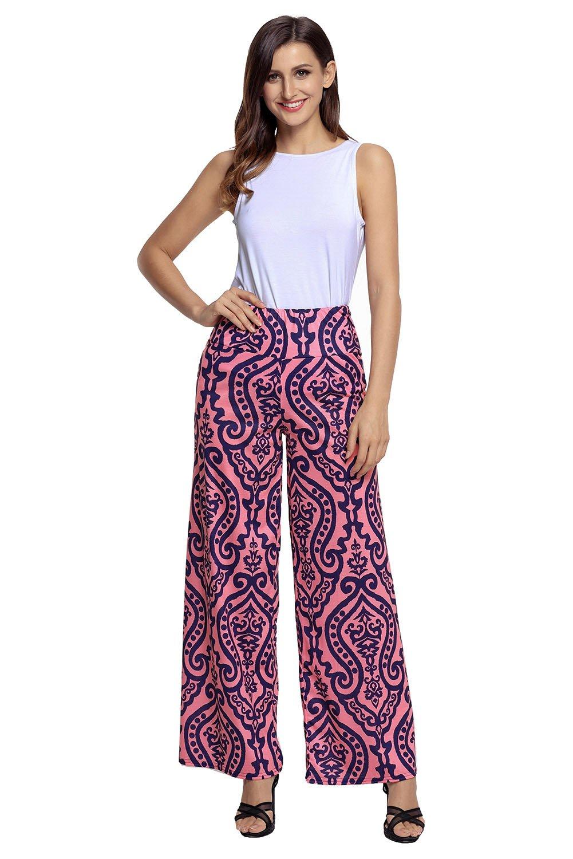 Fantasy Star Women Fashion Damask Print Pink Palazzo Pants as shown (US 12-14)L