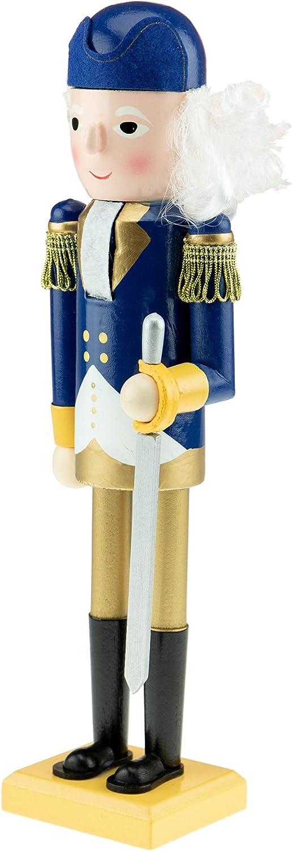 Clever Creations George Washington 35,5/cm Figura Decorativa Tradicional de Madera con Traje Colonial Azul con un bast/ón Cascanueces de Navidad