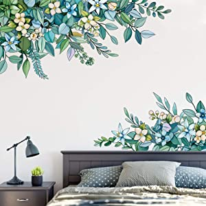 3D Green Leaves Plant Wall Sticker, EsLuker.ly Premium Vinyl Leaf Floral Wall Decals Hanging Leaf Wallpaper Decor for Living Room Bedroom Nursery Wardrobe Door