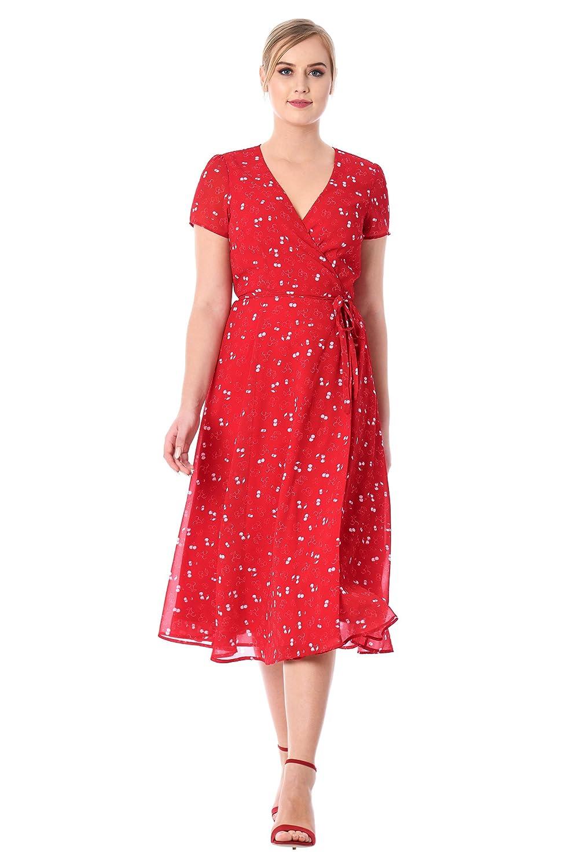 1940s Style Dresses | 40s Dress, Swing Dress eShakti Womens Cherry Print Georgette Midi Wrap Dress $67.95 AT vintagedancer.com