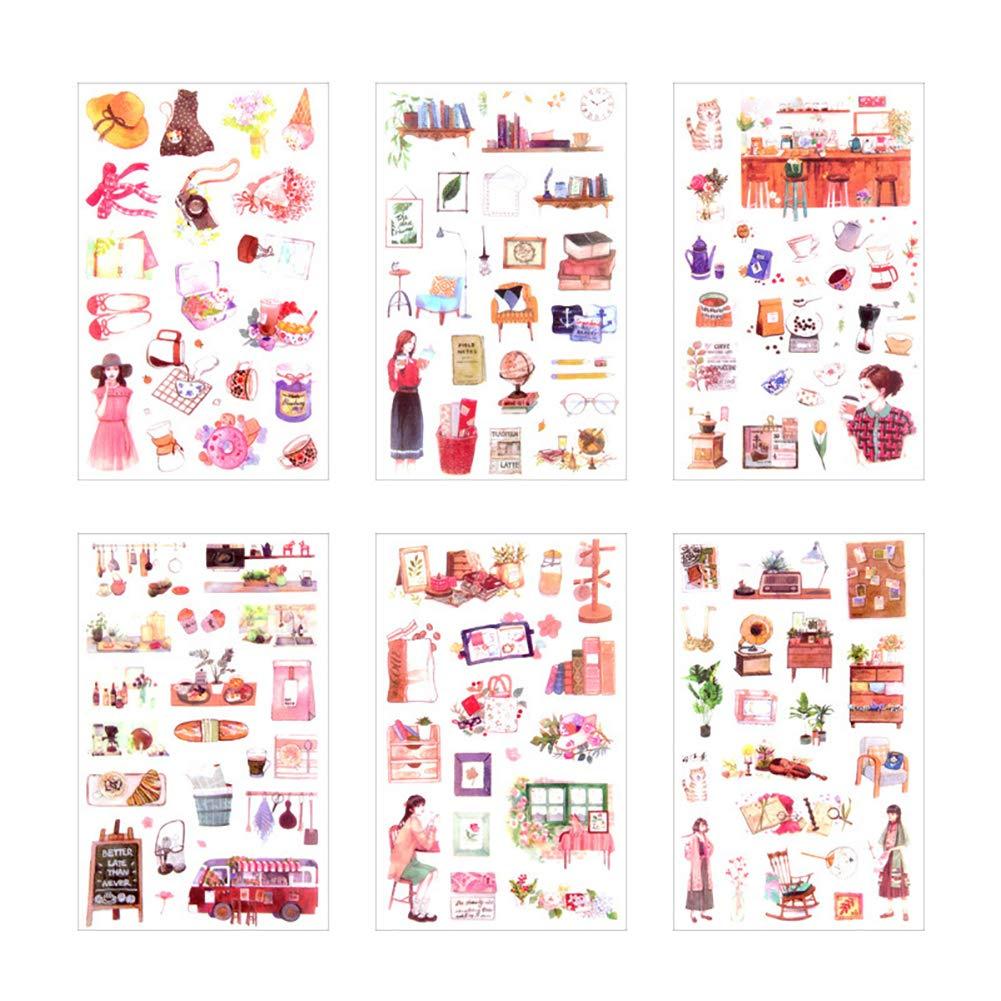 Hacoly 6 fogli adesivi adesivo scrapbook stickers diario della carta della decorazione planner sticker Diario, appunti di viaggio, cartoline,busta Decorazione per Bambino o studente DIY