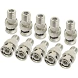 Inovat 10 Pcs Replacement BNC Male to F Female Plug Coax RF Connector RG6 RG59 Metal Adapter Connectors Video and Headend Applications