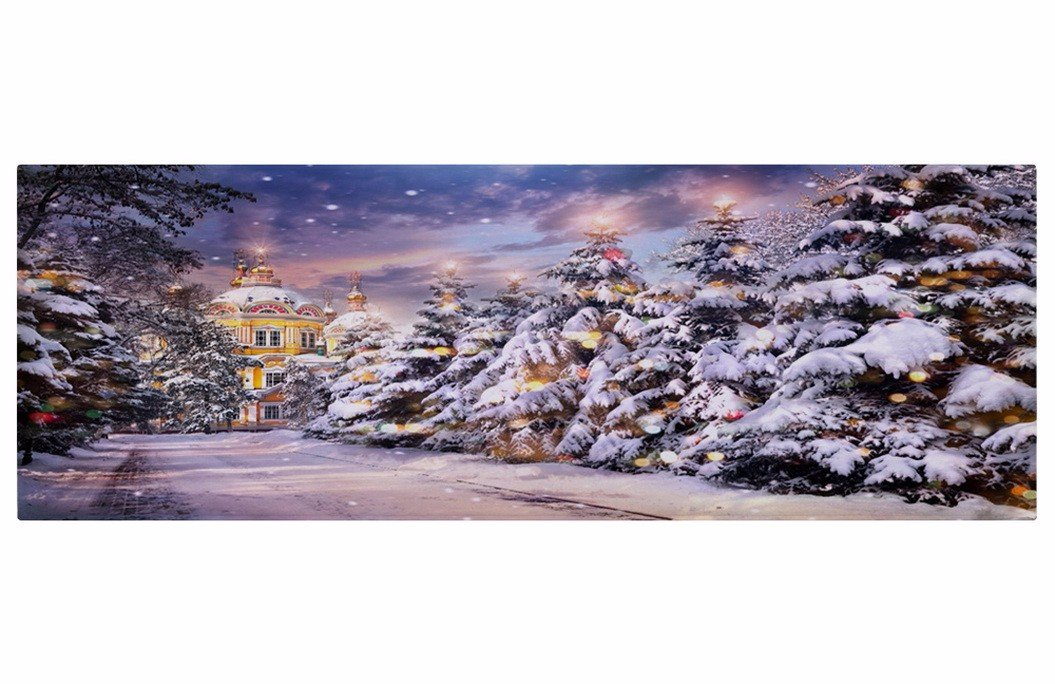 A.Monamour Christmas Holiday Art Decors White Snow Pine Tree Along Long Path Castle Scene Print Soft Absorbent Flannel Non-Slip Rubber Backing Bath Mat Floor Rugs Doormats for Home 40x60cm / 15x23
