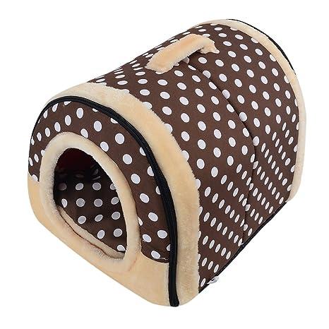 Enerhu Cama del Perro Gato Mascota 2 en 1 Casa y Sofá para Mascotas Plegable Suave