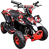 Leopard 36V 800W Red 4'' Tyre Kids Battery Powered Mini ATV Quad Bike {3 Speeds - LED Light - Forward/Neutral/Reverse - CE Approved - MAX Capacity: 65KGS} Children's Electric Ride on