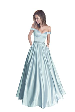 Harsuccting Off The Shoulder Beaded Satin Evening Prom Dress with Pocket - Blue -