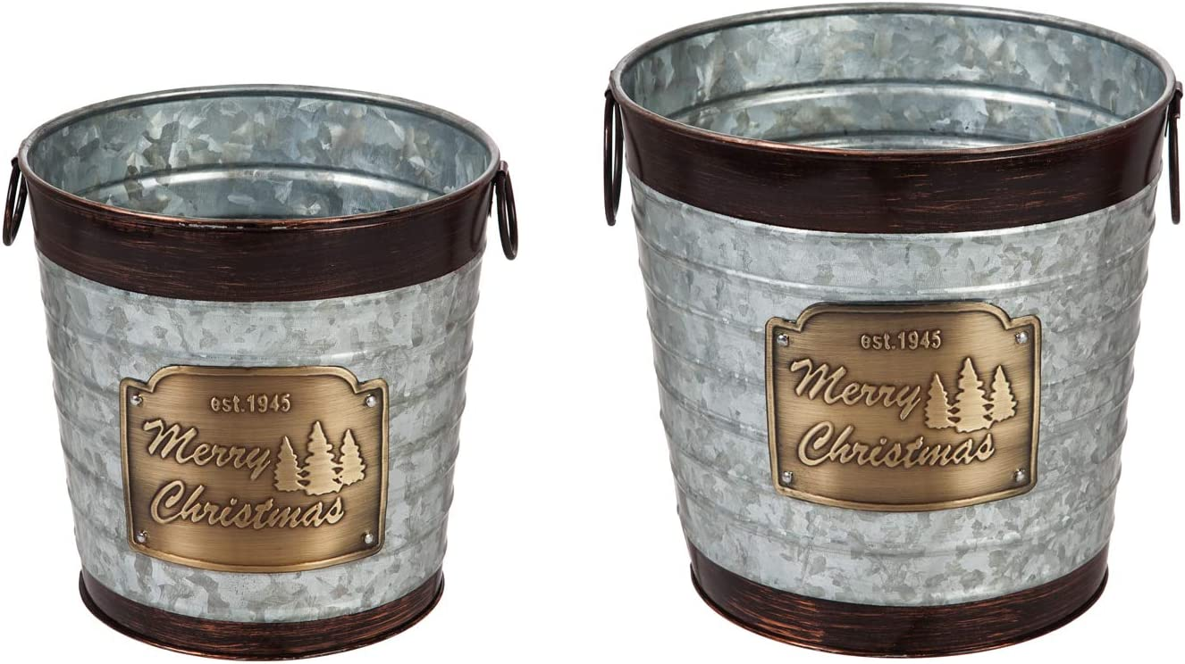 Evergreen Garden Beautiful Seasonal Galvanized Metal Planters with Brushed Brass Brims, Set of 2-10 x 10 x 10 Inches Fade and Weather Resistant Indoor/Outdoor Decoration for Homes, Yards and Gardens