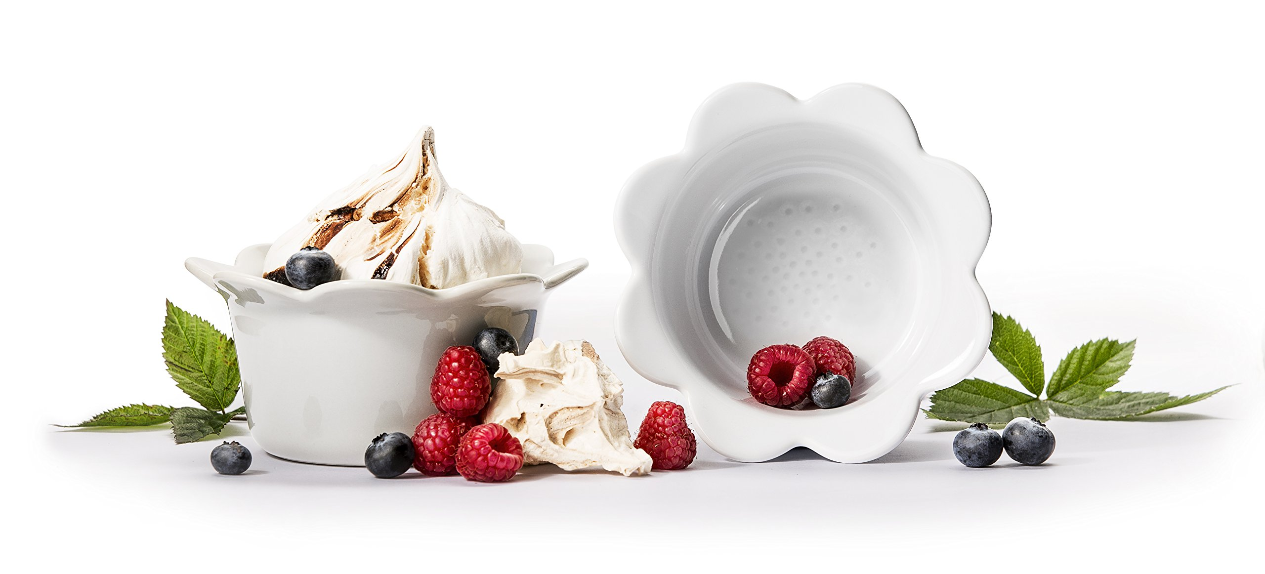 Sagaform Piccadilly Collection Ramekins in Ready-to-Give Gift Packaging Flower Shaped Set of 2, White