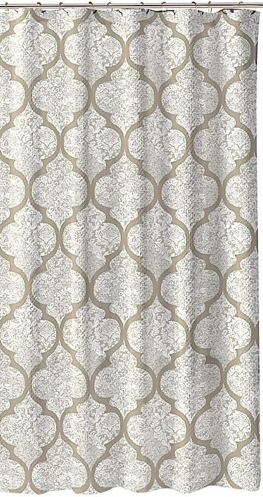 C.H.D Home Taupe (Grey with a Tinge of Brown) White Fabric Shower Curtain: Floral Art in Moroccan Design (Billingham)