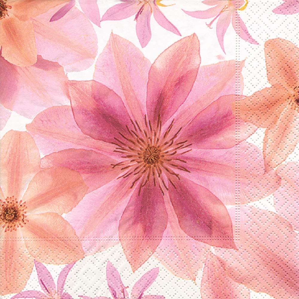 Home Collection Casa Cucina Tessili Set 60 Tovaglioli Monouso Carta 3 veli Motivo Fiori Rosa