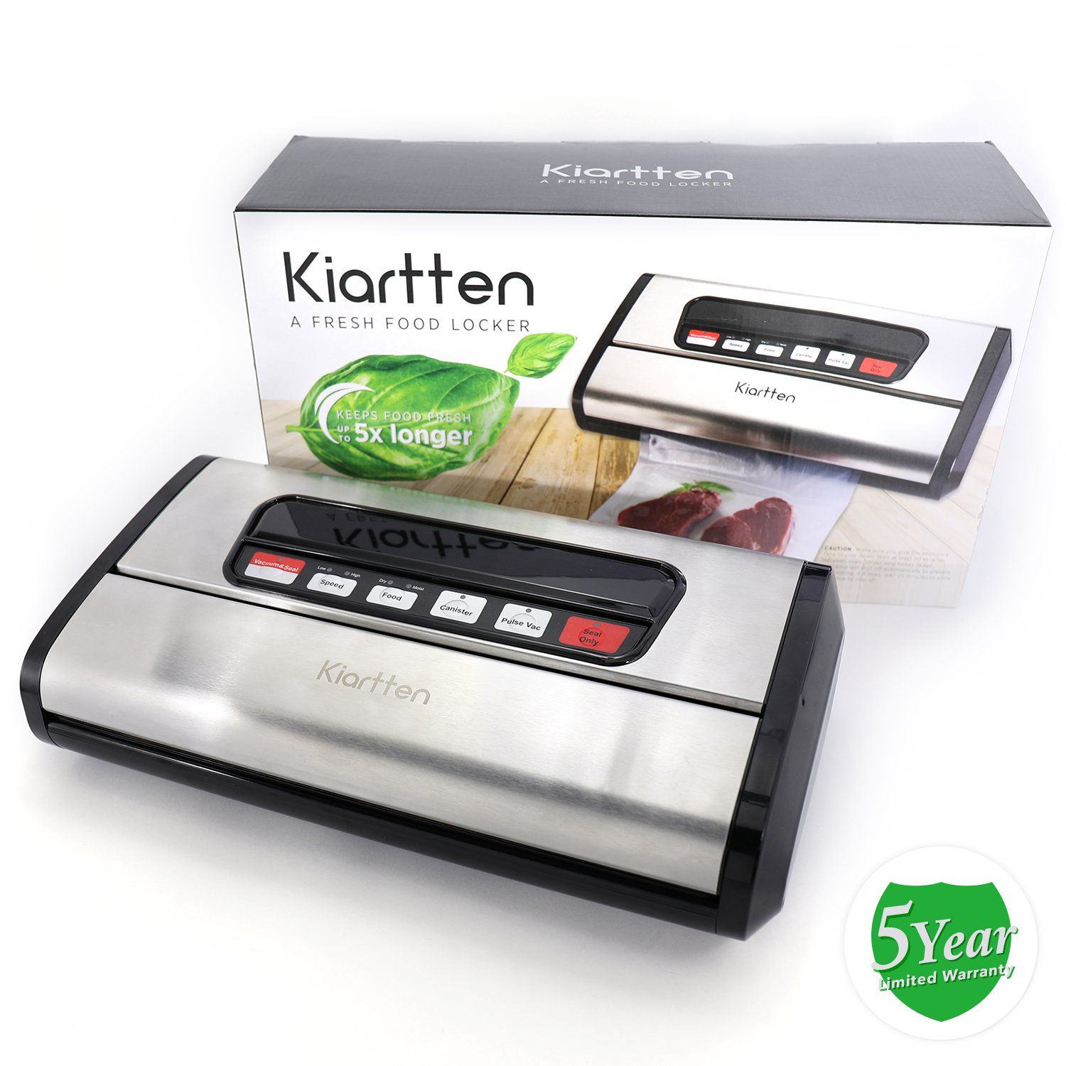 Kiartten Vacuum Sealer, A Fresh Food Locker for Your Kitchen. Keeps Food Fresh Up To 5X Longer. (Stainless Steel) by Spreaze (Image #1)
