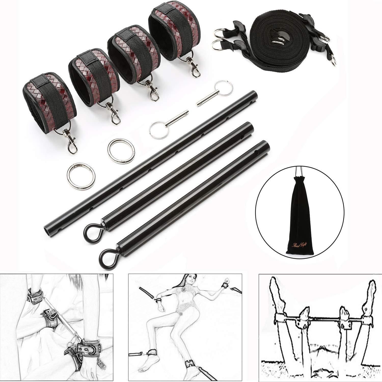 exreizst Expandable Spreader Bar Set with Adjustable Leather Straps Kit (Black 2)