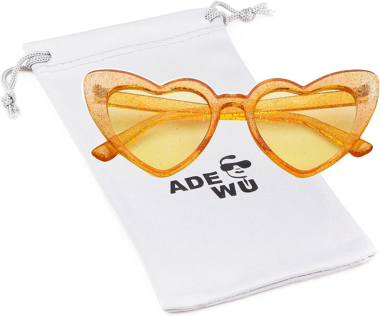 ADEWU Lunettes de Soleil en Forme de Coeur A - Yellow(frame)+yellow(lens)