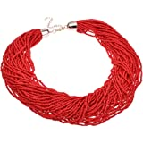Fashion Gold Chain Red Seed Beads Cluster Choker Long Pendant Necklace