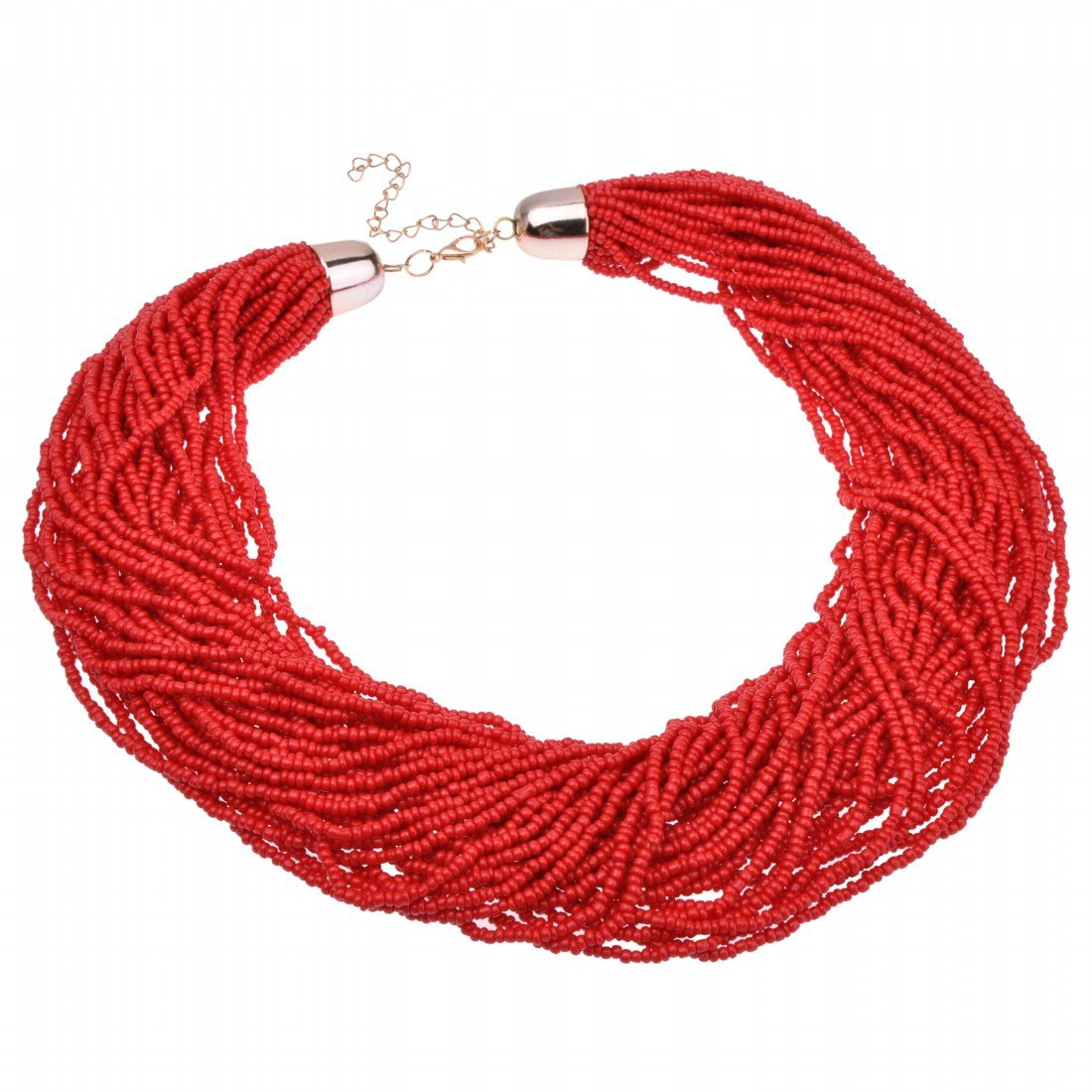Jerollin Fashion Multilayer Red Seed Bead Cluster Strand Handmade Bib Choker Necklace New