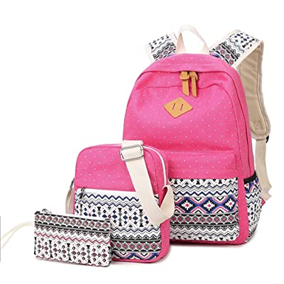 dc0544a258 WKBY 3PCS Set Womens Girls Fashion School bag Backpacks Canvas Bags  Shoulder Bags Travel School Rucksack Big Capacity bookbag For Teenagers  (Red)