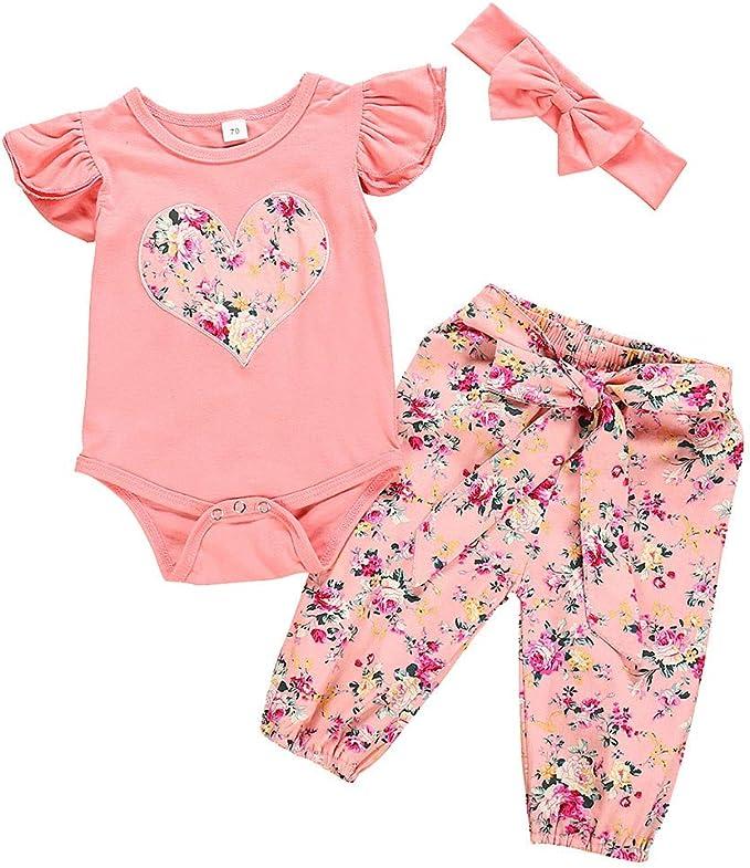 Baby Mädchen Rüsche Kleidung Bodysuit Strampler Hosen Stirnband Outfits Set 3Pcs