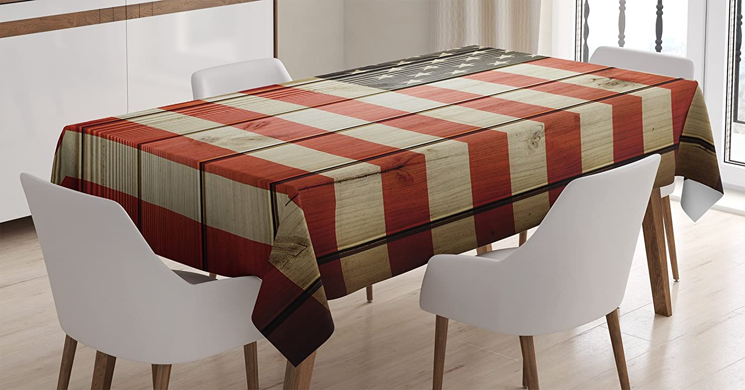 Ambesonne American Flag Decor Tablecloth, USA Flag Over Vertical Striped Wooden Board Citizen Solidarity Kitsch Art, Dining Room Kitchen Rectangular Table Cover, 52 W X 70 L inches, Coral Cream