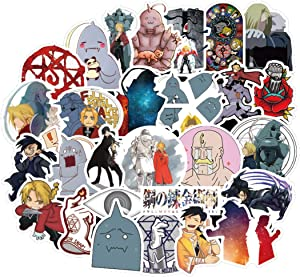 50Pcs Cartoon Anime Fullmetal Alchemist Stickers for Water Bottle Cup Laptop Guitar Car Motorcycle Bike Skateboard Luggage Box Vinyl Waterproof Graffiti Patches JKT