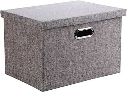 Wintao Storage Box with lid Collapsible Linen Fabric Clothing Storage Basket Bins Toy Box Organizer Gray 25 Litre - Medium