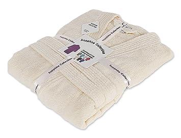 albornoz unisex de 100% algodón egipcio rizado, con capucha, varios tamaños, algodón, crema, large/extra-large: Amazon.es: Hogar