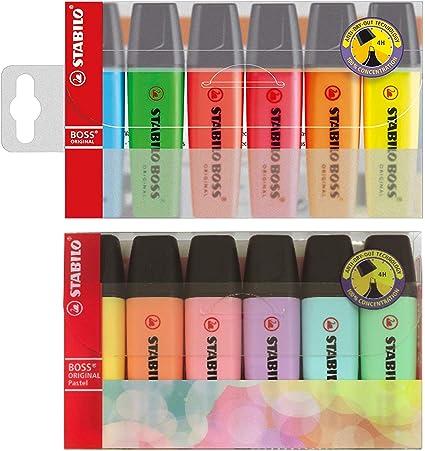 Stabilo Boss - Juego de 6 rotuladores fluorescentes originales y 6 de colores pastel, paquete doble (12 unidades): Amazon.es: Oficina y papelería