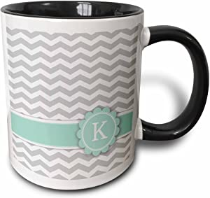 3dRose Letter K monogrammed on grey and white chevron with mint Mug, 11 oz, Black