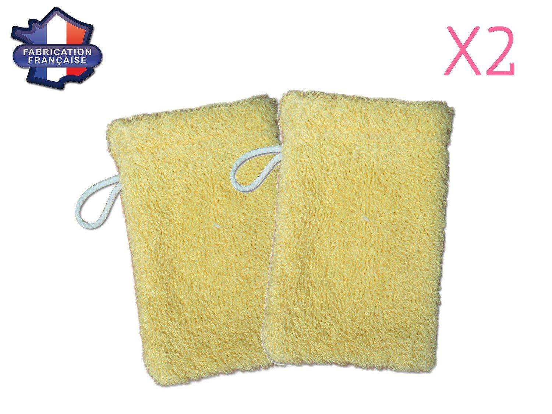 Fabrication Fran/çaise Lot de 2 petits gants de toilette d apprentissage pour b/éb/é//enfant Jaune Modulit