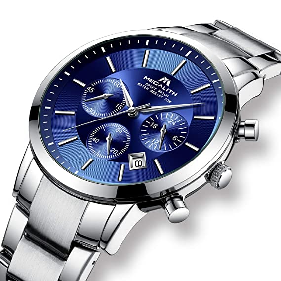 Relojes Hombre Reloj de Pulsera Militar Impermeable Cronógrafo Deportivo de Plata Acero Inoxidable Reloj de Hombres