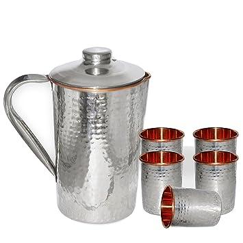DakshCraft ® Cobre acero martillado jarra & acero Cobre martillado vidrio, ...