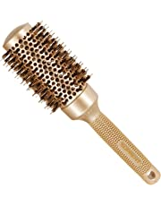 [Upgraded] SUPRENT Nano Thermal Ceramic & Ionic Round Barrel Hair Brush with Boar Bristle, Blowout Brush for Blow Drying, Curling &Straightening, Hair Dryer Brush, Perfect Volume & Shine (1.7 inch)