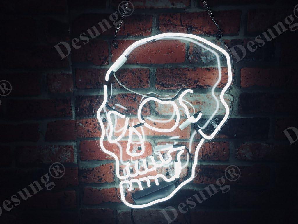 "Desung 17"" Skull Skeleton Custom Design Decorated Acrylic Panel Handmade Man Cave Neon Sign Light UT132"
