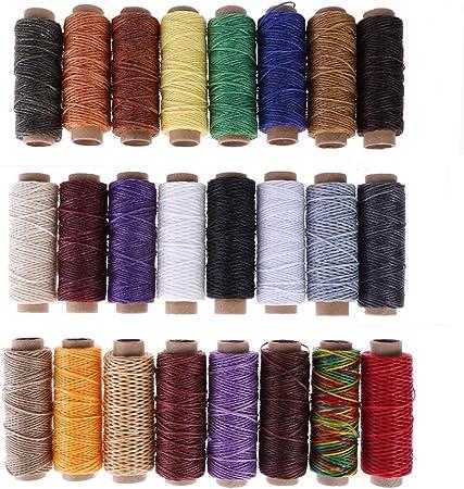 Prosperveil - Cordón de hilo encerado de piel de 24 colores, 50 m, 150D, hilo de coser para coser a mano, herramienta de costura para manualidades de cuero Dark ...