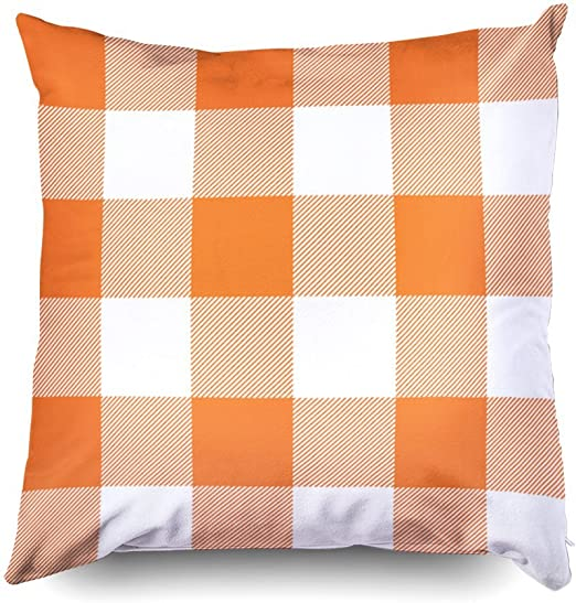 TOMWISH Hidden Zippered Pillowcase Rustic Pink and White Buffalo Check Plaid Outdoor 20X20Inch,Decorative Throw Custom Cotton Pillow Case Cushion Cover for Home Sofas,bedrooms,Offices,and More