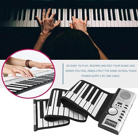 Lorenlli 61 Teclas 128 Tonos Roll Up Piano Electrónico Teclado Portátil Teclado Digital Piano Flexible Recargable