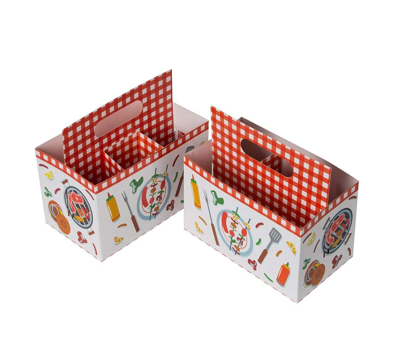 Holiday Paper 7.7 x 7.2 x 4.5 Inches 6-Pack Multi-Purpose Silverware Cutlery Caddy Organizer with BBQ Design for Birthday Party Utensil Holder Picnic