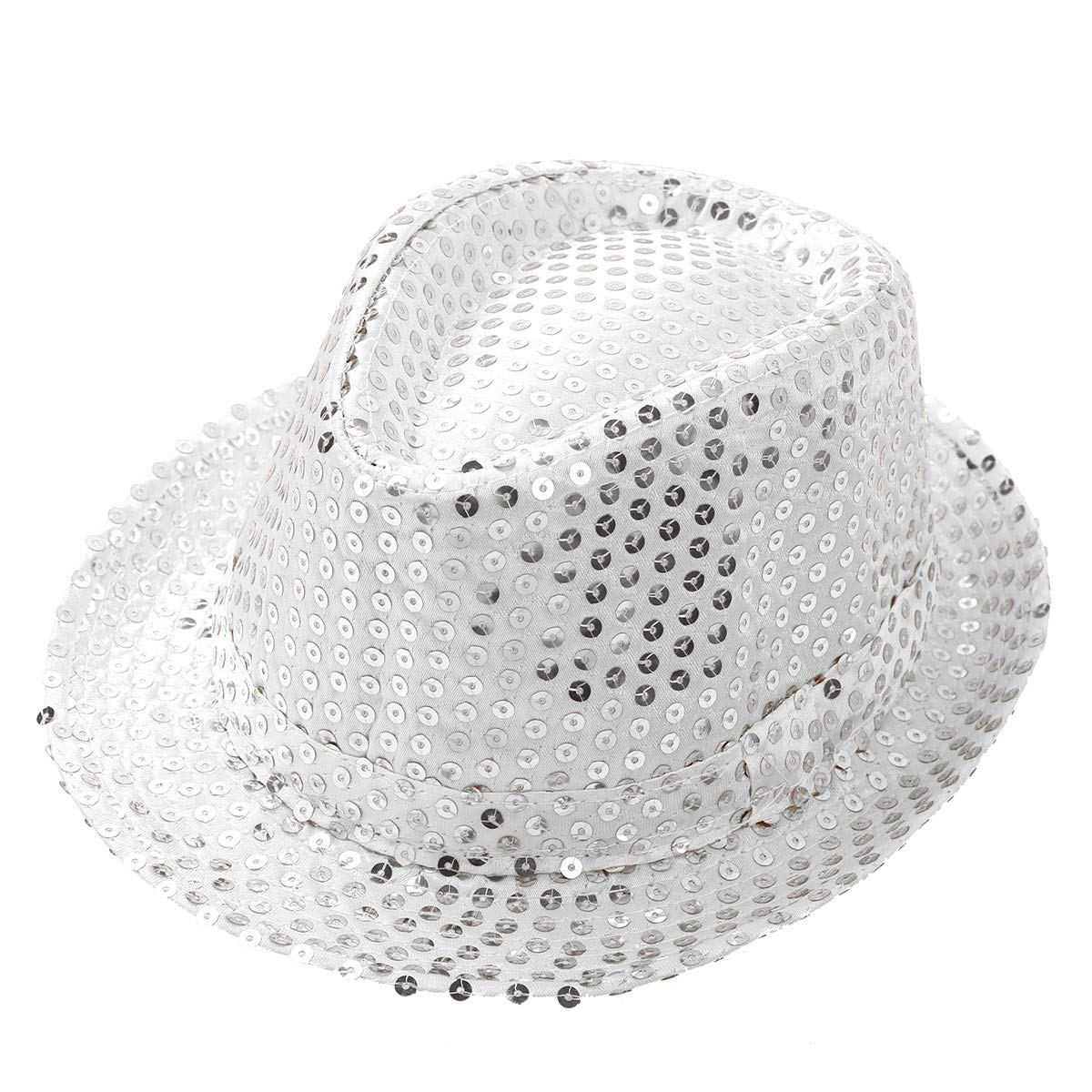 YiZYiF Kids Girls Boys Shiny Party Sequins Fedora Hat Hip Hop Jazz Dance Stage Performance Costumes White One Size