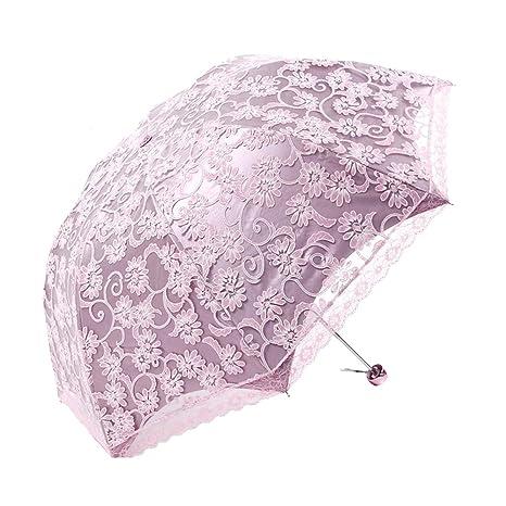Japace® Plegable Paraguas Encaje de Sol Anti UV UPF 50 Compacta y Resistente con Funda