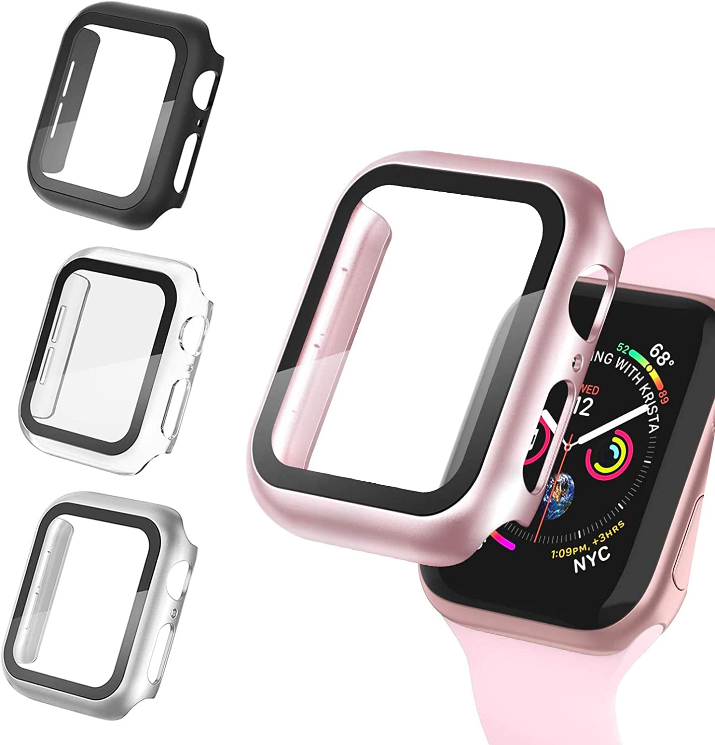 4 Pack Apple Watch Case 44mm Series 6/5/4/SE with Termpered Glass Screen Protector,Ultra-Thin Hard PC Shockproof Bumper Full Coverage Scratch-Resistant Protective Cover for Men Women iWatch