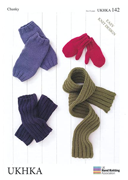 a9fae0bcb16 UKHKA 142 Knitting Pattern Childrens Mittens Leg Warmers and Scarf to knit  in Chunky with Wool yarn  Amazon.co.uk  Kitchen   Home