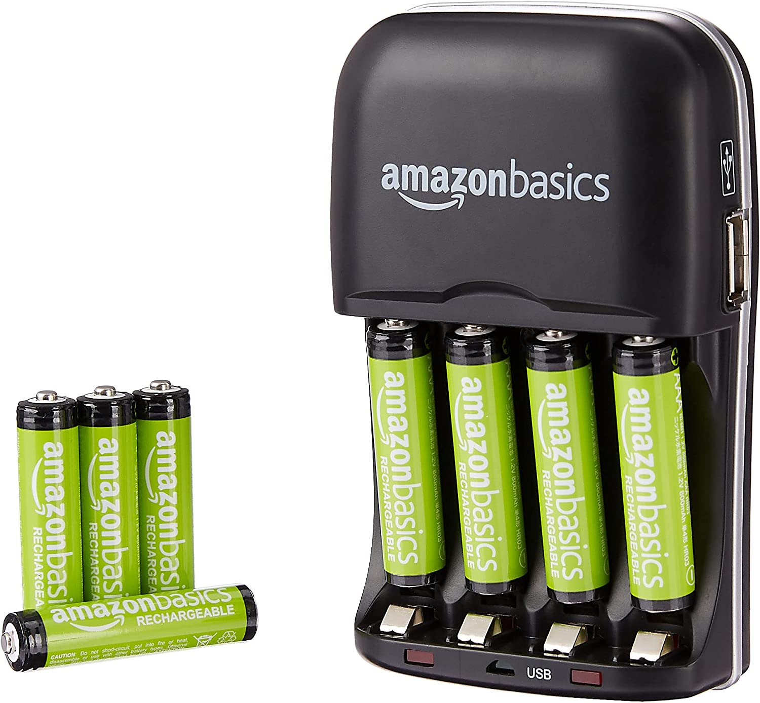 C Black AAA 2-Pack D Compatible Basics USB Battery Charger Pack with AA Rechargeable Batteries 8-Pack