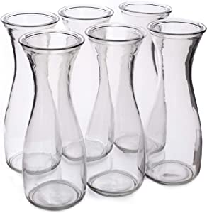 34 oz (1 Liter) Glass Carafe Beverage Bottles, 6-pack - Water Pitchers, Wine Decanters, Mixed Drinks, Mimosas, Centerpieces, Arts & Crafts - Restaurant, Catering, Party, & Home Kitchen Supplies