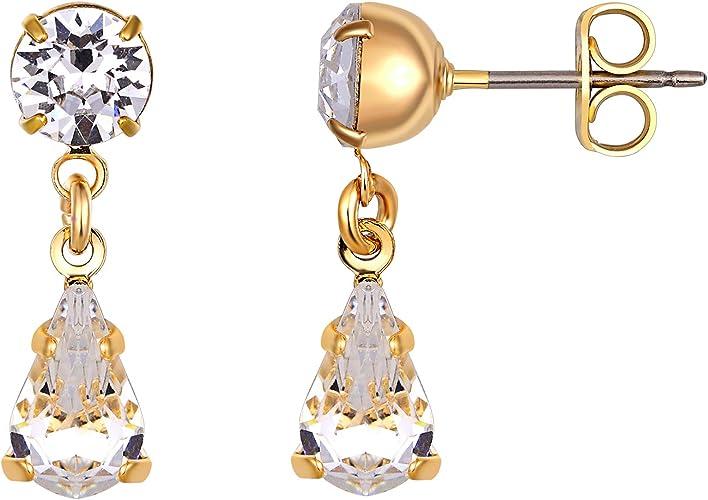 Costume Jewellery Silver Rhinestone Drop Earrings E15