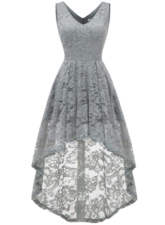 8e7bd39222bec1 MUADRESS 6666 Sleeveless Hi-Lo Lace Bridesmaid Dress Cocktail Party Dress V  Neck S Grey