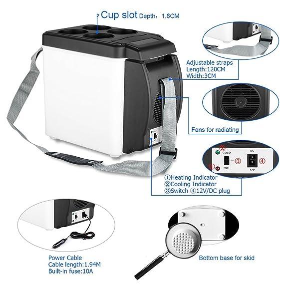 Amazon.es: 2 en 1 Mini Nevera Electrica Portatil Calentador 6L 12V para Coche Camion Vehiculo Camping, Negro
