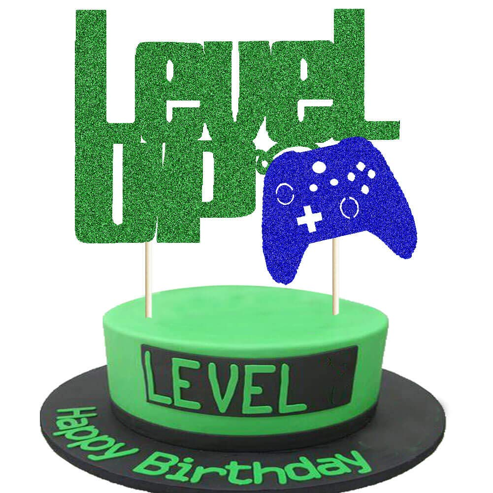 Level Up Cake Topper Green and Blue Glittery Video Game Party Cake Decor Video Game Controller/Game Fans/Gamer/Gaming Themed Kids Boy Girl Happy Birthday Party Cake Supplies Decorations