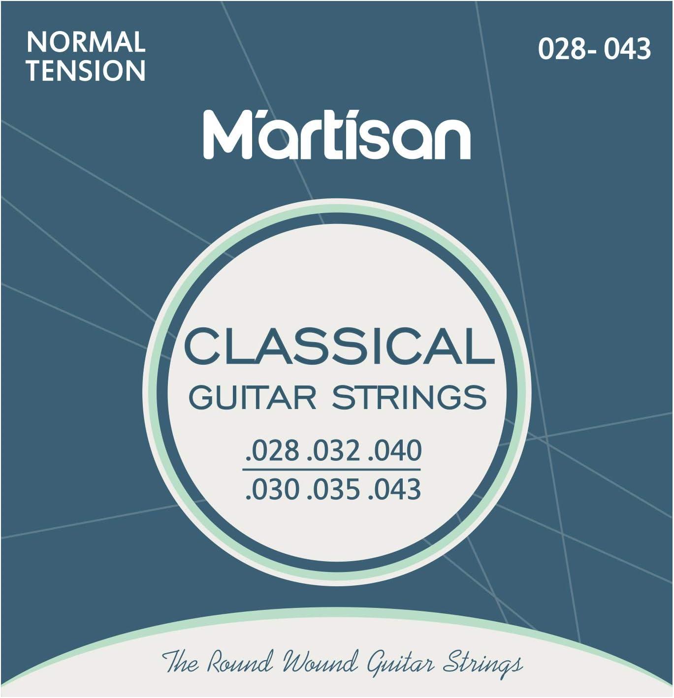 MARTISAN Cuerdas para Guitarra Clásica (.028-.043) para guitarra clásica, española, flamenca y guitarra acústica (lote de 6 cuerdas) con 3 púas para guitarra